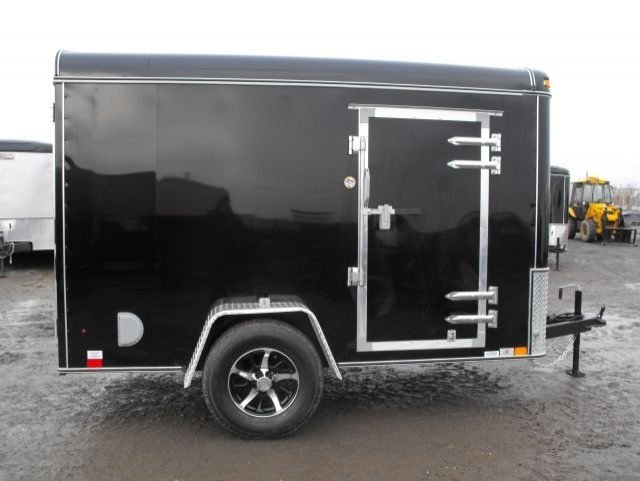 Black  Single  Axle  Enclosed  Cargo  Trailer  Side  View