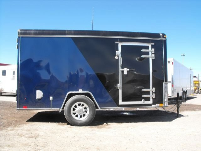 Black and  Blue  Single  Axle  Enclosed  Cargo  Trailer