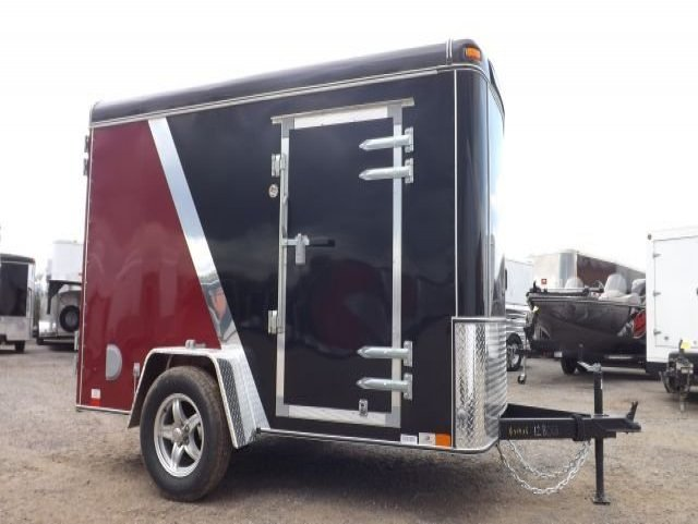 Black and  Burgandy  Single  Axle  Enlcosed  Cargo  Trailer