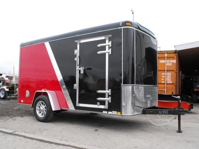 Black and  Red  Single  Axle  Enlcosed  Cargo  Trailer