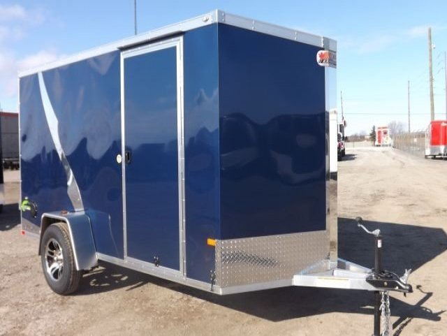 Blue  All  Aluminum  Single  Axle  Enclosed  Cargo  Trailer
