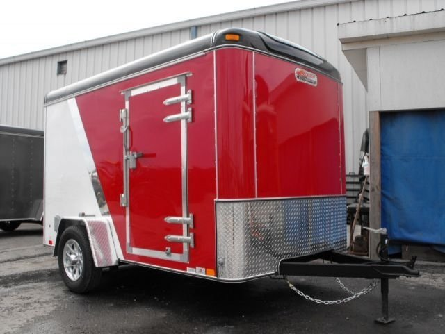 Red and  White  Single  Axle  Enclosed  Cargo  Trailer