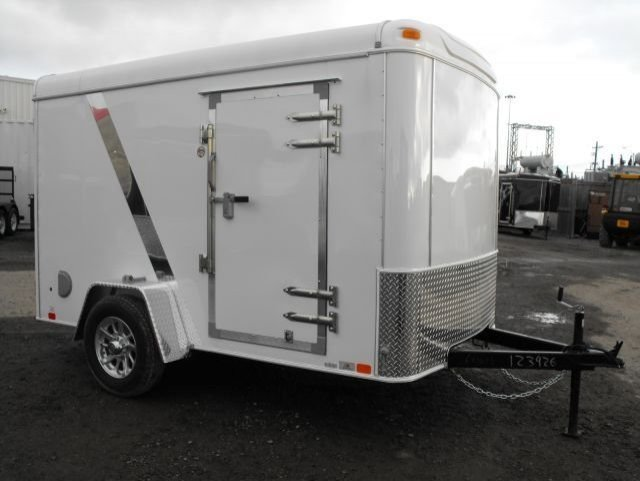 White  Single  Axle  Enclosed  Cargo  Trailer