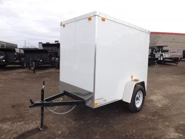 White XLE  Single  Axle  Enclosed  Cargo  Trailer
