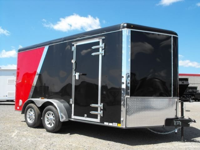 black and red tandem axle enclosed cargo trailer