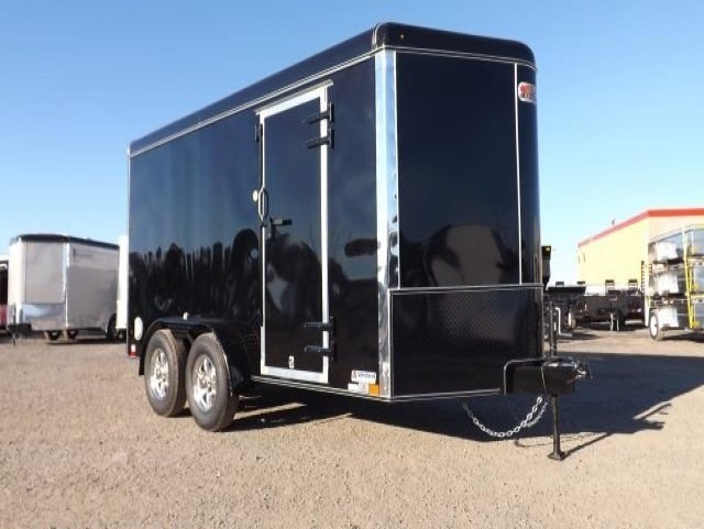 black powder coat tandem axle enclosed cargo trailer