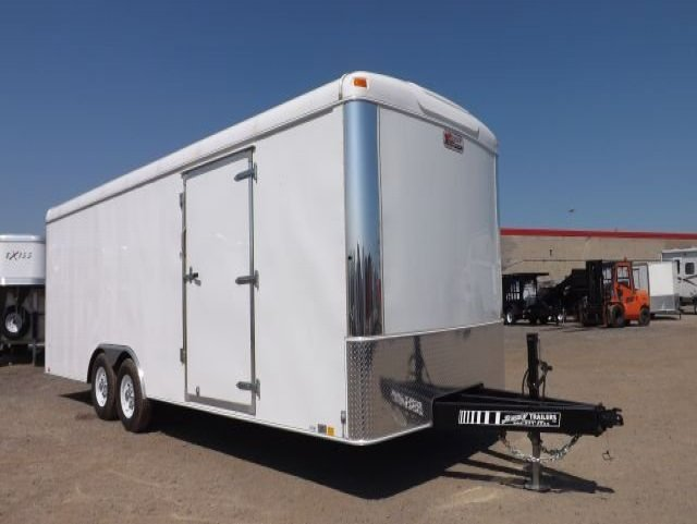 white tandem axle enclosed cargo trailer car hauler