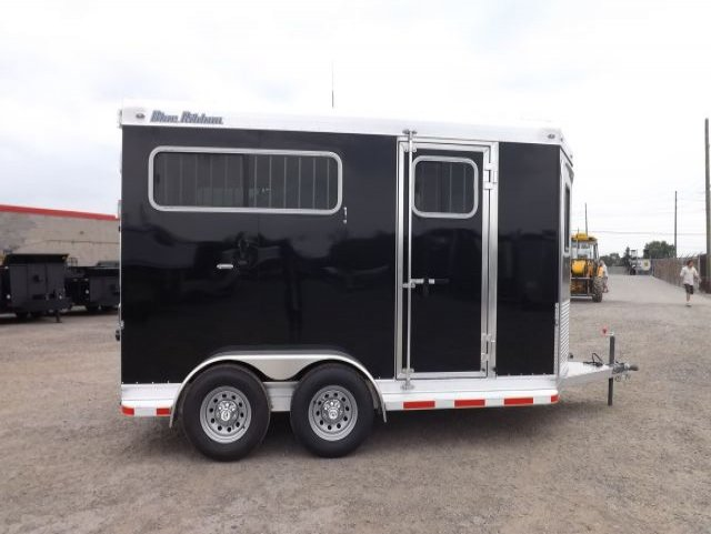 black blue ribbon 2 horse bumper pull trailer curbside view