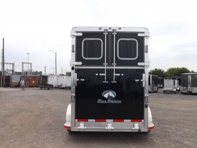 black blue ribbon 2 horse bumper pull trailer rear view